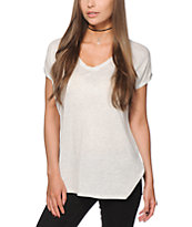 Empyre Marla Heather White V-Neck Dolman T-Shirt