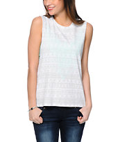 Empyre Mitzi Eagle Grey & White Aztec Print Muscle T-Shirt