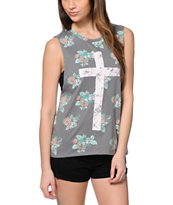 Empyre Mitzi Floral Cross Grey Muscle T-Shirt