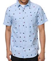Empyre Mobbin Light Blue Print Woven Button Up Shirt