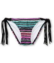 Empyre Monarch Ombre Tribal Fringe Side Tie Bikini Bottom