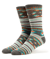 Empyre Mountaineer Grey Native Print Crew Socks