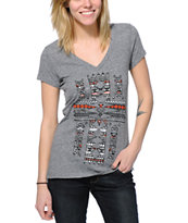 Empyre Native Fill Cross Charcoal V-Neck T-Shirt