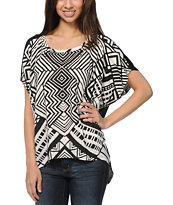 Empyre Orinda Black Tribal Print Dolman Top