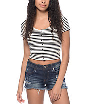 Empyre Oslo Black & White Stripe Crop T-Shirt