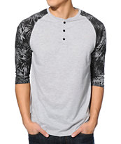 Empyre Party Palm Grey Henley Baseball Tee Shirt