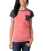 Empyre Petra Fire Red Raglan Sleeve Tee Shirt