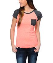 Empyre Petra Neon Coral & Charcoal Pocket T-Shirt