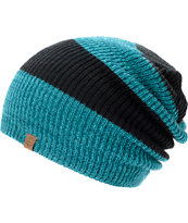 Empyre Piper Black & Teal Rugby Stripe Beanie