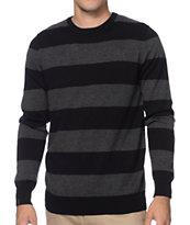 Empyre Pop Collar Grey & Black Striped Sweater