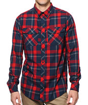Empyre Predator Navy & Red Plaid Button Up Shirt