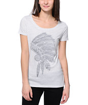 Empyre Profile White Reverse Print Scoop Neck Tee Shirt