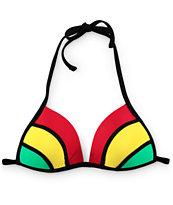 Empyre Rasta Colorblock Molded Cup Bikini Top