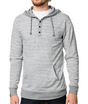 Empyre Razz Heather Grey Knit Henley Hooded Shirt