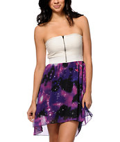 Empyre Ria Galaxy Print Strapless High Low Dress