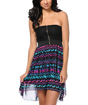 Empyre Ria Tribal Print Strapless High Low Dress