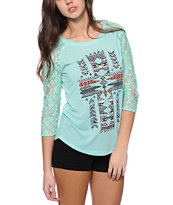 Empyre Richland Native Cross Mint Lace Top