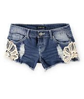Empyre Rita Crochet Side Medium Wash Denim Shorts