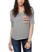 Empyre Rockridge Tribal Pocket Grey Top