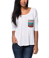 Empyre Rockridge White Tribal Print Pocket Top