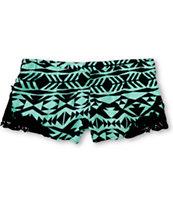 Empyre Sapphire Black & Mint Tribal Print Crochet Challis Shorts