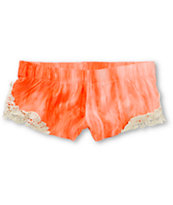 Empyre Sapphire Coral Washed Crochet Challis Shorts