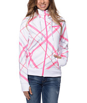 Empyre Sarana White & Pink Bias Plaid Tech Fleece Jacket