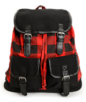Empyre Serene Black & Red Buffalo Plaid Rucksack Backpack
