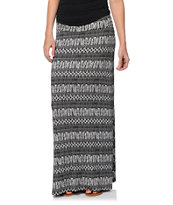 Empyre Shayla Black & Cream Feather Print Maxi Skirt