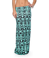 Empyre Shayla Mint & Black Tribal Print Maxi Skirt