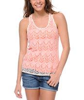 Empyre Shea Neon Coral Crochet Tank Top