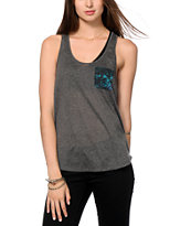 Empyre Slope Galaxy Print Chiffon Back Tank Top