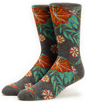 Empyre Stomp Grey Floral Crew Socks