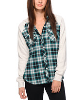 Empyre Sycamore Teal Hooded Flannel Shirt