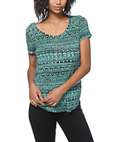 Empyre Tawny Mint Tribal Chiffon Back Top