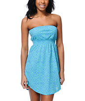 Empyre Teal & Blue Tonal Tribal Print Strapless Dress