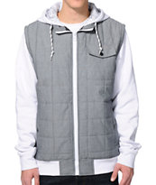 Empyre The Craft Charcoal & White Chambray Hooded Vest Jacket