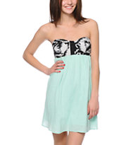 Empyre Tiana Jacquard Print & Brook Green Strapless Dress