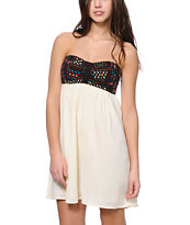 Empyre Tiana Multicolor Print & Cream Strapless Dress