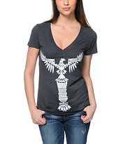 Empyre Totem Glow In The Dark Charcoal V-Neck T-Shirt