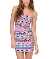 Empyre Tribal Print Bodycon Strapless Dress