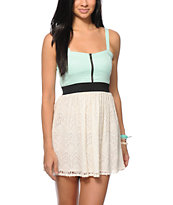Empyre Tula Mint & Cream Crochet Zipper Dress