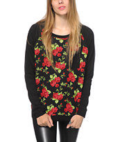 Empyre Turner Black Floral Crew Neck Sweatshirt