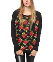 Empyre Turner Black Floral Crew Neck Sweatshirt