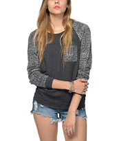 Empyre Turner Burnout Tribal Charcoal Crew Neck Sweatshirt