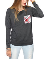 Empyre Turner Plaid Pocket Crew Neck Sweatshirt