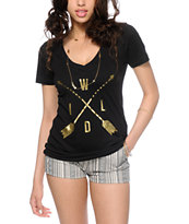Empyre Wild Gold & Black V-Neck T-Shirt