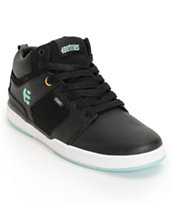 Etnies High Rise Black, White, & Turquoise Leather Skate Shoe