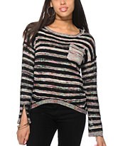 Eyeshadow Grey Tonal Stripe Pocket Crew Neck Sweater