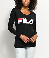 FILA Black Logo Long Sleeve T-Shirt